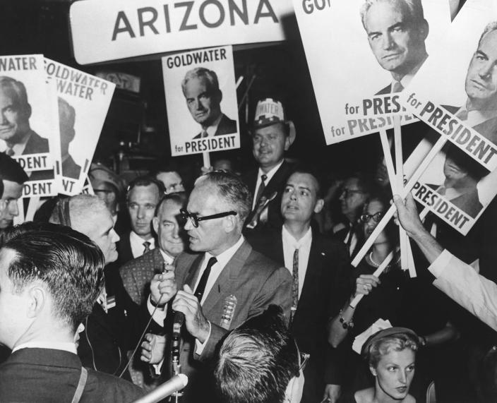 Sen. Barry Goldwater during the 1964 campaign. (Photo: Hulton-Deutsch Collection/Corbis/Corbis via Getty Images)