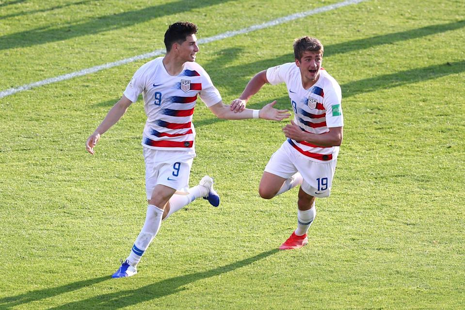 BYDGOSZCZ, POLAND - JUNE 04:  Sebastian Soto of the United States (9) celebrates after scoring his team's second goal with Justin Rennicks during the 2019 FIFA U-20 World Cup Round of 16 match between France and USA at Bydgoszcz Stadium on June 04, 2019 in Bydgoszcz, Poland. (Photo by Lars Baron - FIFA/FIFA via Getty Images)