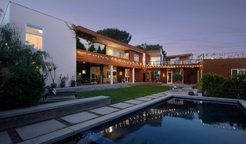 The striking contemporary home combines concrete, redwood and glass across 7,200 square feet.