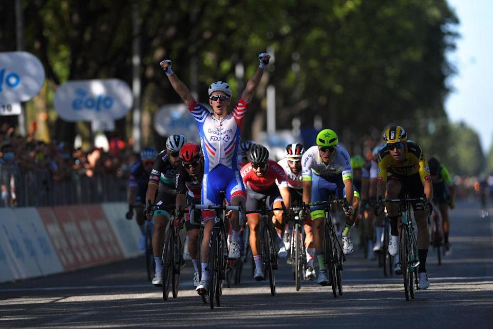 TURIN ITALY  AUGUST 05 Arrival  Arnaud Demare of France and Team Groupama  FDJ  Celebration  Peter Sagan of Slovakia and Team Bora  Hansgrohe  Caleb Ewan Australia and Team Lotto Soudal  Nacer Bouhanni of France and Team Arkea  Samsic  Wout Van Aert of Belgium and Team Jumbo  Visma  Danny Van Poppel of Netherlands and Team Circus  Wanty Gobert  during the 101st Milano  Torino 2020 a 198km race from Mesero to Stupinigi  Turin  MilanoTorino  on August 05 2020 in Stupinigi  Turin Italy Photo by Tim de WaeleGetty Images