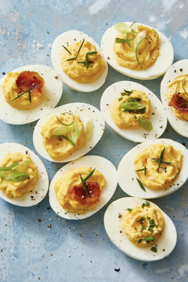 """<p>Indoors or out, <a href=""""https://www.goodhousekeeping.com/food-recipes/easy/g606/deviled-eggs-recipes/"""" rel=""""nofollow noopener"""" target=""""_blank"""" data-ylk=""""slk:this old-school app"""" class=""""link rapid-noclick-resp"""">this old-school app</a> is always a favorite. Just make sure you keep 'em chilled if you're picnic-ing on a hot day.</p><p><em><a href=""""https://www.goodhousekeeping.com/food-recipes/a48179/best-deviled-eggs-recipe/"""" rel=""""nofollow noopener"""" target=""""_blank"""" data-ylk=""""slk:Get the recipe for Best Ever Deviled Eggs »"""" class=""""link rapid-noclick-resp"""">Get the recipe for Best Ever Deviled Eggs »</a></em> </p>"""