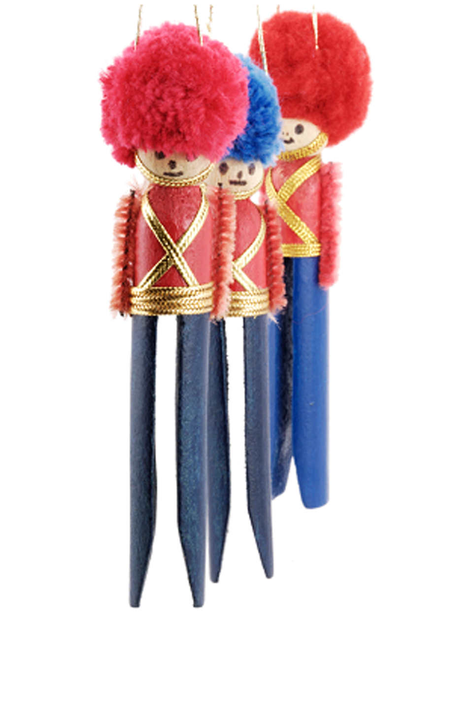 """<p>Topped with adorable pom-pom hats, these clothespin toy soldiers are ready for duty on your tree. </p><p><a href=""""http://www.altogetherchristmas.com/crafts/clothespinsoldiers.html"""" rel=""""nofollow noopener"""" target=""""_blank"""" data-ylk=""""slk:Get the tutorial at Altogether Christmas »"""" class=""""link rapid-noclick-resp""""><em>Get the tutorial at Altogether Christmas »</em></a></p>"""