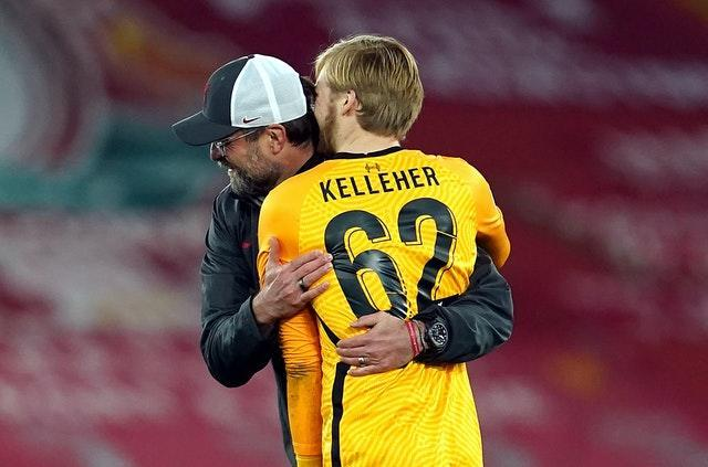 Jurgen Klopp embraces Caoimhin Kelleher after the game