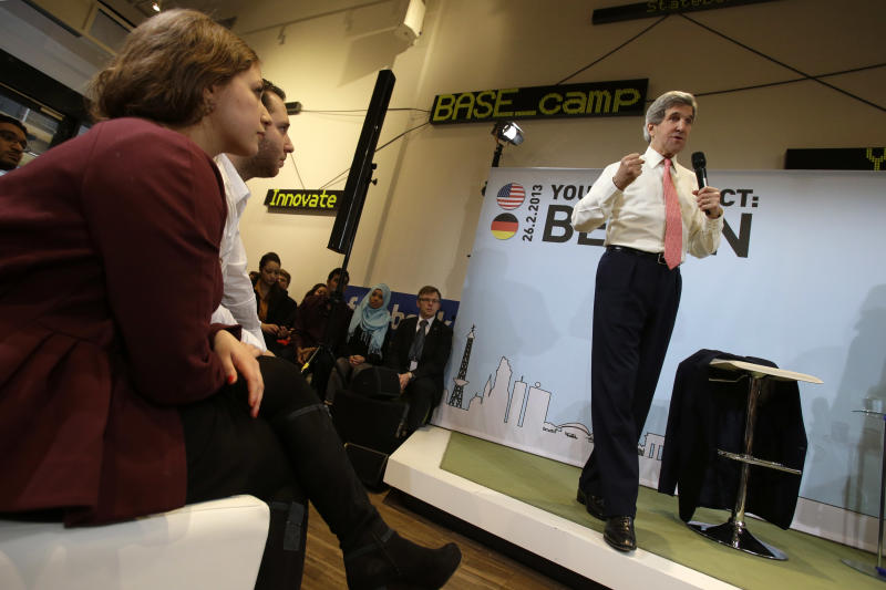"""U.S. Secretary of State John Kerry speaks at a """"Youth Connect: Berlin"""" event in Berlin on Tuesday, Feb. 26, 2013. Berlin is the second stop in Kerry's first trip overseas as secretary. (AP Photo/Jacquelyn Martin, Pool)"""