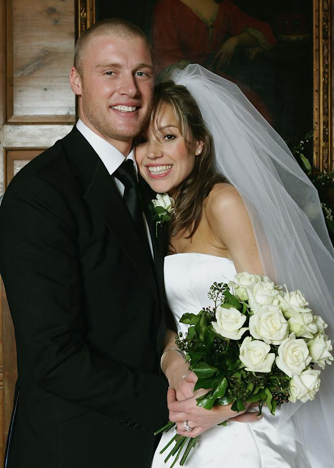 LONDON - MARCH 5:  England Cricketer Andrew Flintoff poses for pictures with his new wife Rachel Wools after their wedding on March 5 2005 in Kensington, London, England.  (Photo by Tom Shaw/Getty Images) *** Local Caption *** Andrew Flintoff; Rachel Wools