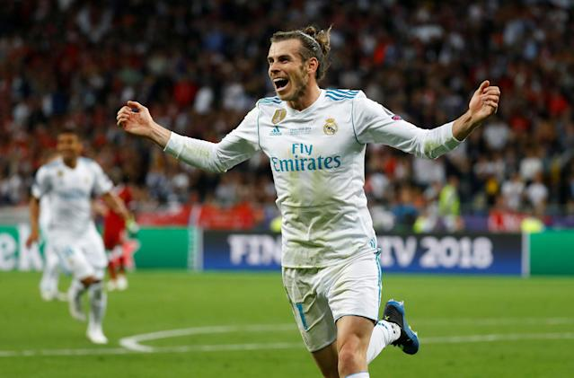 Soccer Football - Champions League Final - Real Madrid v Liverpool - NSC Olympic Stadium, Kiev, Ukraine - May 26, 2018 Real Madrid's Gareth Bale celebrates scoring their third goal REUTERS/Kai Pfaffenbach TPX IMAGES OF THE DAY