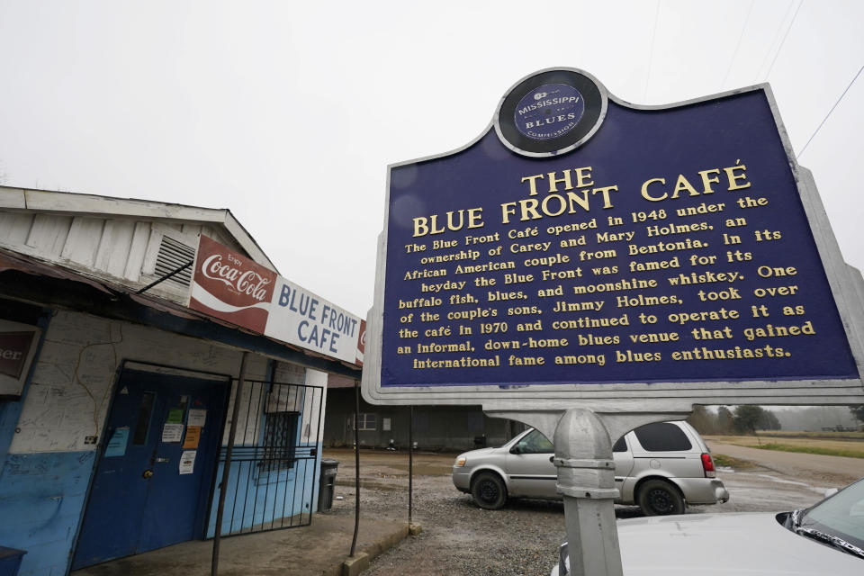 "The Blue Front Cafe in Bentonia, Miss., photographed, Jan. 21, 2021, is one of oldest surviving juke joints in the state, and owned by bluesman Jimmy ""Duck"" Holmes, whose ninth album, ""Cypress Grove,"" has earned a Grammy nomination for the Best Traditional Blues Album. (AP Photo/Rogelio V. Solis)"