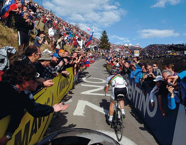World champion Cadel Evans (BMC) ascends the Zoncolan during the Giro d'Italia's 15th stage.