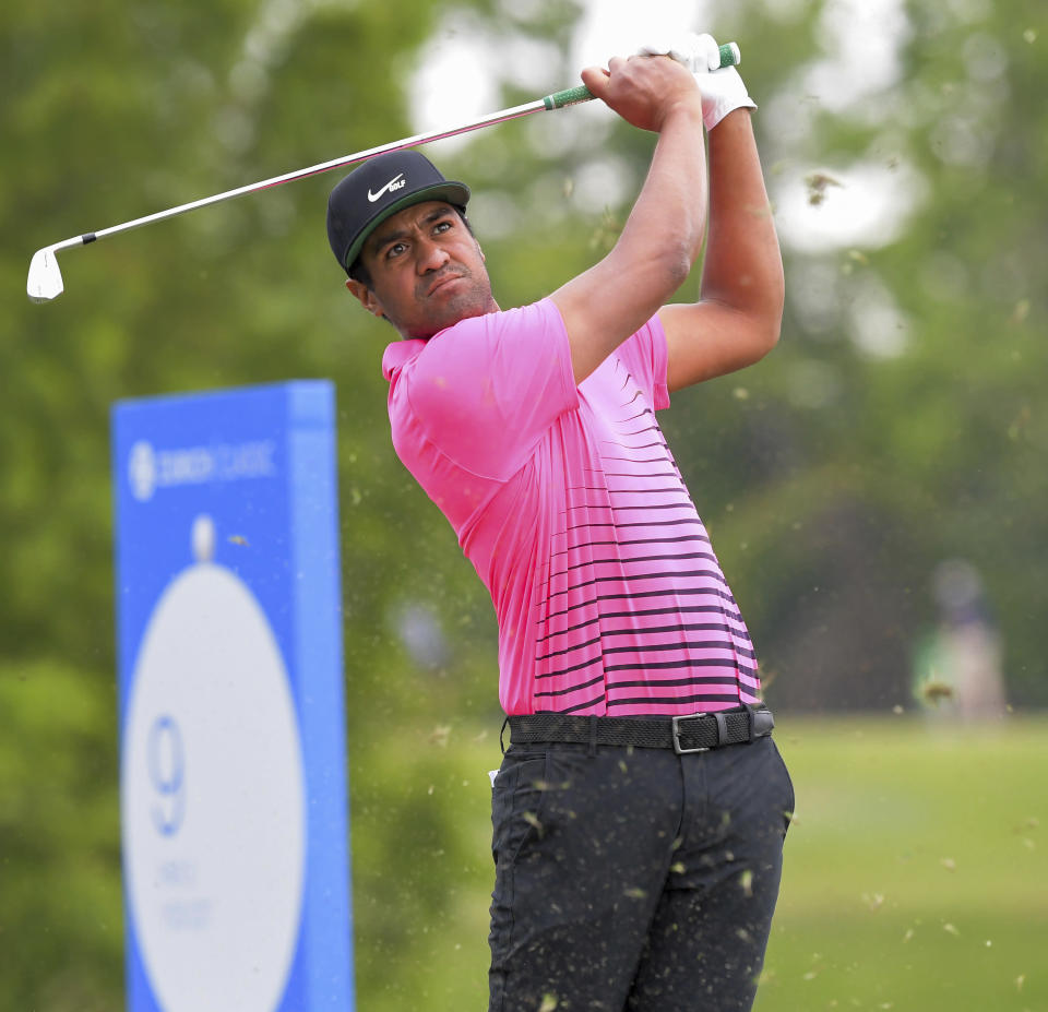 Tony Finau watches his his tee shot on the ninth hole during the second round of the Zurich Classic golf tournament at TPC Louisiana in Avondale, La., Friday, April 23, 2021. (Max Becherer/The Times-Picayune/The New Orleans Advocate via AP)