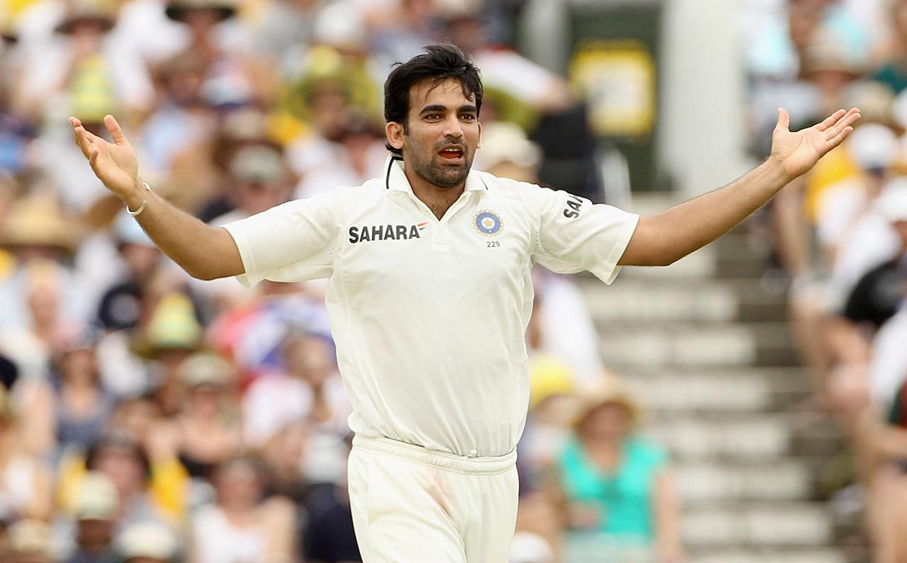 PERTH, AUSTRALIA - JANUARY 14:  Zaheer Khan of India celebrates the wicket of Brad Haddin of Australia during day two of the Third Test match between Australia and India at WACA on January 14, 2012 in Perth, Australia.  (Photo by Hamish Blair/Getty Images)