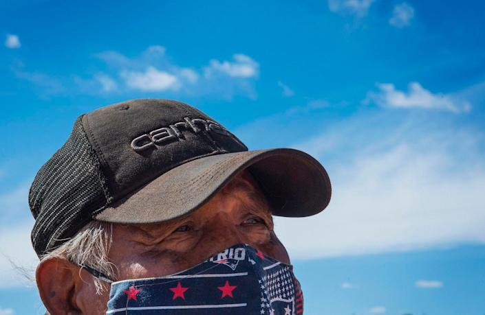 Emerson Gorman, 66, a Navajo elder, at his property near the Navajo Nation town of Steamboat, Arizona, on May 23. The traditional healer, who lives on the largest Native American reservation in the US, said he sees it as his duty to pass on his wisdom as the community elders face an existential threat from the coronavirus pandemic.