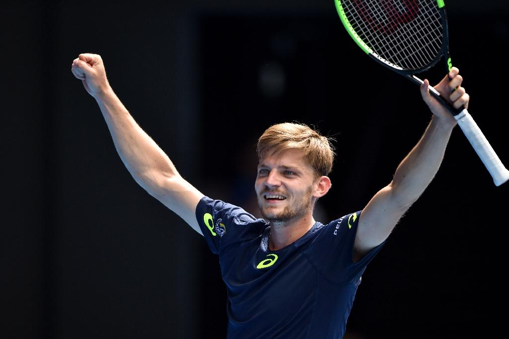 Belgium's David Goffin celebrates his Australian Open fourth round victory against Austria's Dominic Thiem, in Melbourne, on January 23, 2017 (AFP Photo/PETER PARKS)