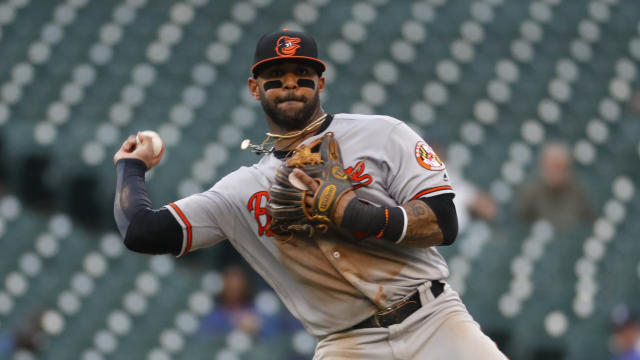 Baltimore Orioles second baseman Jonathan Villar throws to first base for an out on Detroit Tigers' Travis Demeritte's ground ball in the eighth inning of a baseball game in Detroit, Monday, Sept. 16, 2019. (AP Photo/Paul Sancya)