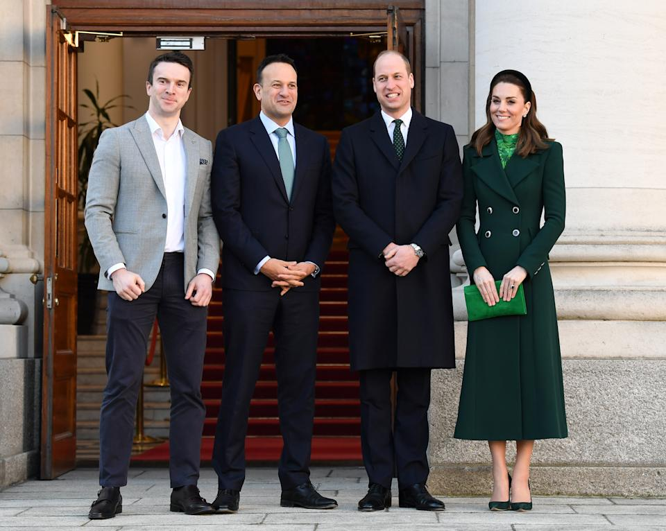 DUBLIN, IRELAND - MARCH 03: Matthew Barrett, Taoiseach of Ireland Leo Varadkar, Prince William, Duke of Cambridge and Catherine, Duchess of Cambridge pose during an Official Meeting on March 03, 2020 in Dublin, Ireland. The Duke and Duchess of Cambridge are undertaking an official visit to Ireland between Tuesday 3rd March and Thursday 5th March, at the request of the Foreign and Commonwealth Office. (Photo by Karwai Tang/WireImage)