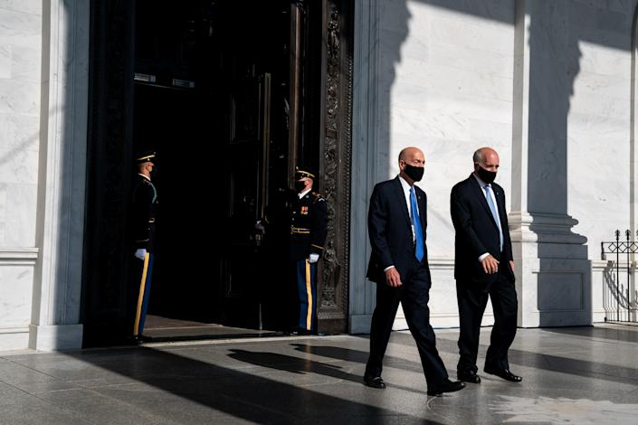 Michael Stenger, left, and Paul Irving, the Senate and House Sergeants at Arms, at the U.S. Capitol in Washington, July 29, 2020.  (Erin Schaff/The New York Times)