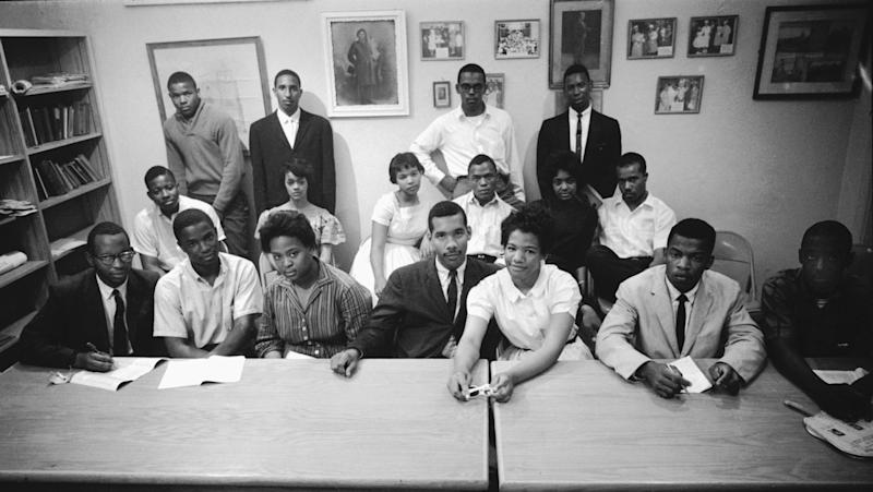 Freedom Riders. Front row, from left: Allen Cason Jr. , Frederick Leonard, Etta Simpson, William B. Mitchell, Ruby D. Smith, John Lewis, Charles Butler, second row, from left: Joseph Carter, Lucretia Collins, Patricia Jenkins, Carl Bush, Catherine Burks, Paul E. Brooks. Stranding, from left: Clarence Wright, Bernard La Fayette Jr., Rudolph Graham, William Harbour. In the basement of Reverend Ralph Abernathy's Church. Montgomery, Alabama, May 1961. (Photo: Paul Schultzer/Time Life Pictures/Getty Images)