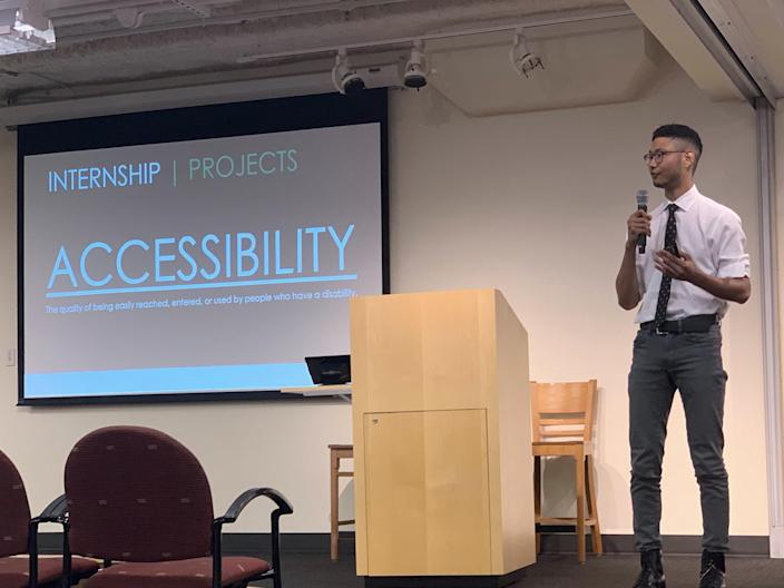 "Trey Tamaki, now an associate technical product manager at Starbucks, gives a talk about an accessibility project. <p class=""copyright"">Starbucks</p>"