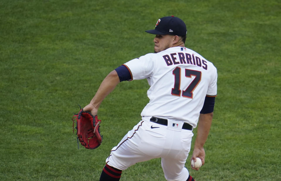 Minnesota Twins pitcher Jose Berrios throws against the Cleveland Indians in the first inning of a baseball game, Thursday, June 24, 2021, in Minneapolis (AP Photo/Jim Mone)