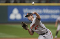Baltimore Orioles starting pitcher John Means throws against the Seattle Mariners during the fifth inning of a baseball game, Wednesday, May 5, 2021, in Seattle. (AP Photo/Ted S. Warren)