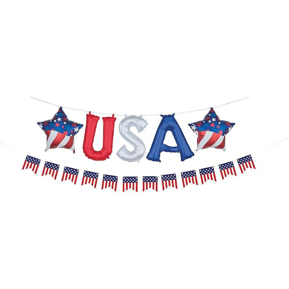 """<p>partycity.com</p><p><strong>$12.99</strong></p><p><a href=""""https://go.redirectingat.com?id=74968X1596630&url=https%3A%2F%2Fwww.partycity.com%2Fair-filled-red-white-and-blue-usa-letter-balloons-with-pennant-banner-13in-779409.html%3Fcgid%3D4th-of-july-decorations&sref=https%3A%2F%2Fwww.womansday.com%2Fhome%2Fdecorating%2Fg2441%2Ffourth-of-july-decorations%2F"""" rel=""""nofollow noopener"""" target=""""_blank"""" data-ylk=""""slk:Shop Now"""" class=""""link rapid-noclick-resp"""">Shop Now</a></p><p>It's never a bad time for balloons, and these USA ones will make a great background to take photos at your Fourth of July party. </p>"""