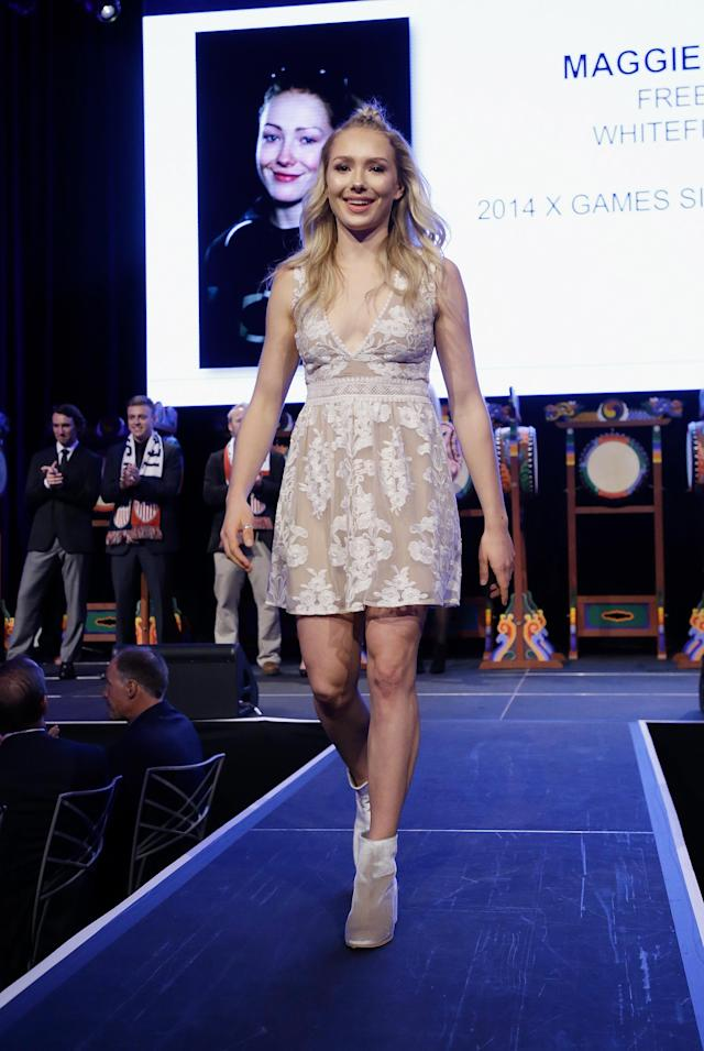 <p>Freeski X Games Silver Medalist, Maggie Voisin attends 51st New York Gold Medal Gala at The Ziegfeld Ballroom on November 2, 2017 in New York City. (Photo by John Lamparski/Getty Images) </p>