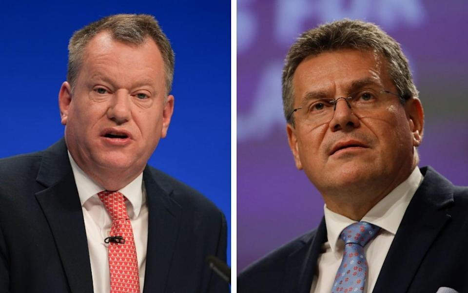 After months of to-ing and fro-ing, could Lord Frost and Maros Sefcovic be about to make a breakthrough? - Christopher Furlong/Getty Images/Olivier Hoslet/EPA-EFE/Shutterstock