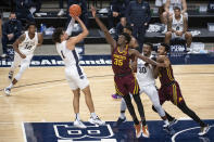 Penn State forward Seth Lundy (1) shoots against Minnesota during an NCAA college basketball game Wednesday, March 3, 2021, in State College, Pa. (Noah Riffe/Centre Daily Times via AP)