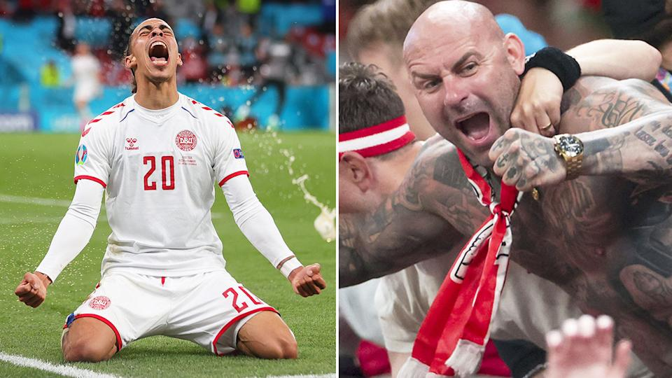 Pictured here, fans celebrate Denmark's incredible final group game win against Russia.