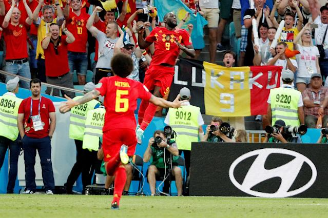 Soccer Football - World Cup - Group G - Belgium vs Panama - Fisht Stadium, Sochi, Russia - June 18, 2018 Belgium's Romelu Lukaku celebrates scoring their third goal REUTERS/Max Rossi