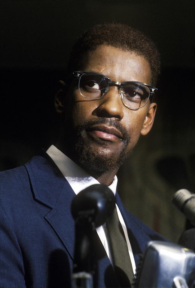 """<a href=""""http://movies.yahoo.com/movie/1800183197/info"""">MALCOLM X </a>(1992)   Spike had long dreamed of making a movie about Malcolm X and fought the studios and the moneymen to make the film the way he saw fit. Lee reportedly never thought of anyone else to play the Black Nationalist leader other than Denzel. The actor had actually played Malcolm X once before years earlier in the off-Broadway play, """"When the Chickens Came Home to Roost."""" Washington was nominated for a Best Actor Oscar for his riveting performance but ultimately lost to Al Pacino for """"<a href=""""http://movies.yahoo.com/movie/1800183448/info"""">Scent of a Woman</a>."""""""