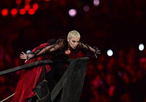 British singer Annie Lennox performs during the closing ceremony of the 2012 London Olympic Games at the Olympic stadium in London