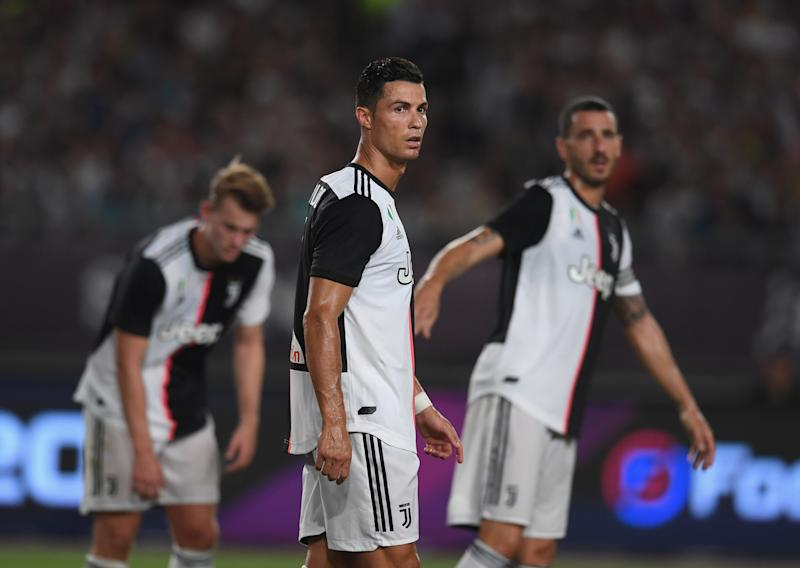 NANJING, CHINA - JULY 24: Cristiano Ronaldo of Juventus looks on during the International Champions Cup match between Juventus and FC Internazionale at the Nanjing Olympic Center Stadium on July 24, 2019 in Nanjing, China. (Photo by Claudio Villa - Inter/Inter via Getty Images)