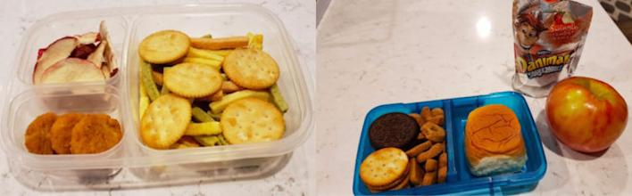 """two bento box lunches: One likes the same thing everyday, it is crunchy foods including freezed dried fruit and chicken nuggets. While his brother is picky but will eat different textures."""""""