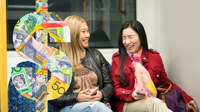 Pictured: Commuters on Sydney Trains laugh in quiet carriage, and dollar sign suggesting fine. Images: Getty
