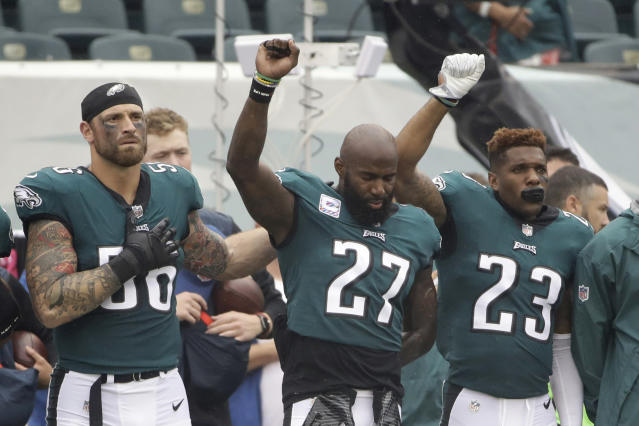 FILE - In this Oct. 8, 2017, file photo, Philadelphia Eagles' Chris Long (56), Malcolm Jenkins (27) and Rodney McLeod (23) gesture during the National Anthem before an NFL football game against the Arizona Cardinals, in Philadelphia. Baltimore's Ben Watson and Philadelphia's Malcolm Jenkins have strong views toward anthem protests and those who oppose them, based on their religious beliefs. But even pastors can't agree on the controversial topic that has enveloped the NFL this season. (AP Photo/Matt Rourke, File)