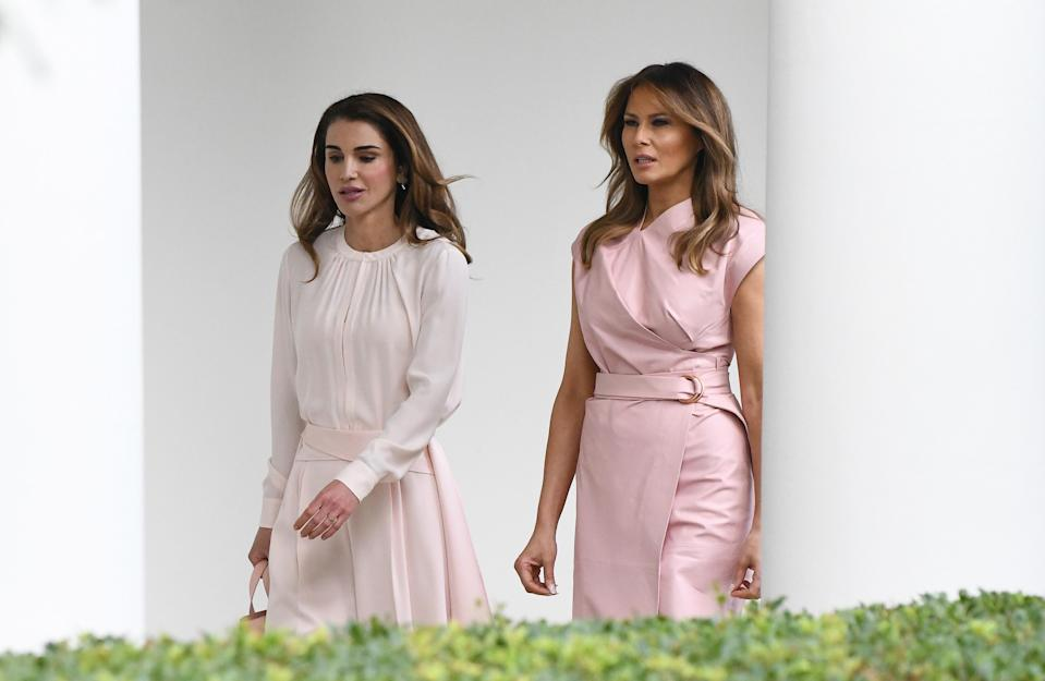 Melania Trump and Queen Rania of Jordon both wore pink during a state visit. (Photo: Getty Images)