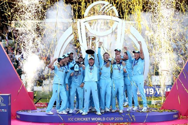 England celebrate their World Cup final win over New Zealand at Lord's