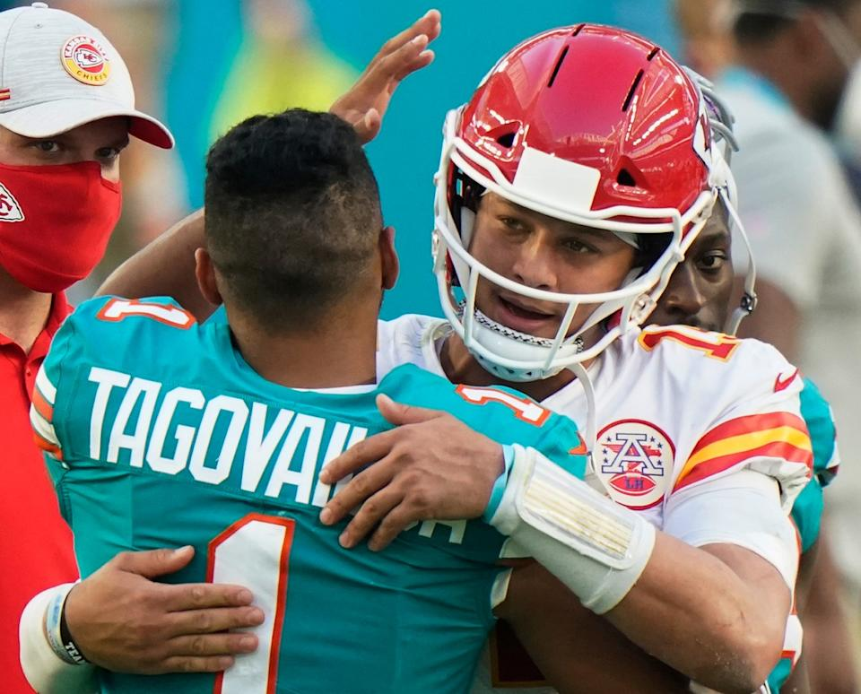 Tua Tagovailoa and Patrick Mahomes dazzled fans on Sunday in a back-and-forth affair that could be the shape of an AFC rivalry to come. (AP Photo/Wilfredo Lee)