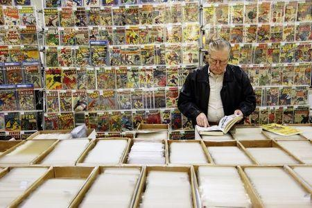A man shops for comic books at the Penn Plaza Pavilion in New York