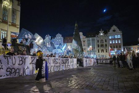 Supporters of the National-Radical Camp (ONR) and the All-Polish Youth demonstrate against the refugees in Wroclaw