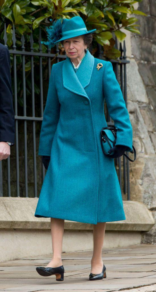 <p>Queen Elizabeth II and Prince Philip's only daughter attends the royal family's Easter church service.</p>