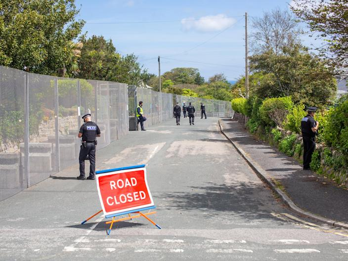 The imposing security fence which has been erected around the G7 summit site in St Ives, Cornwall, June 8 2021. Leaders from around the world are expected in the seaside town later this week. (James Dadzitis / SWNS)