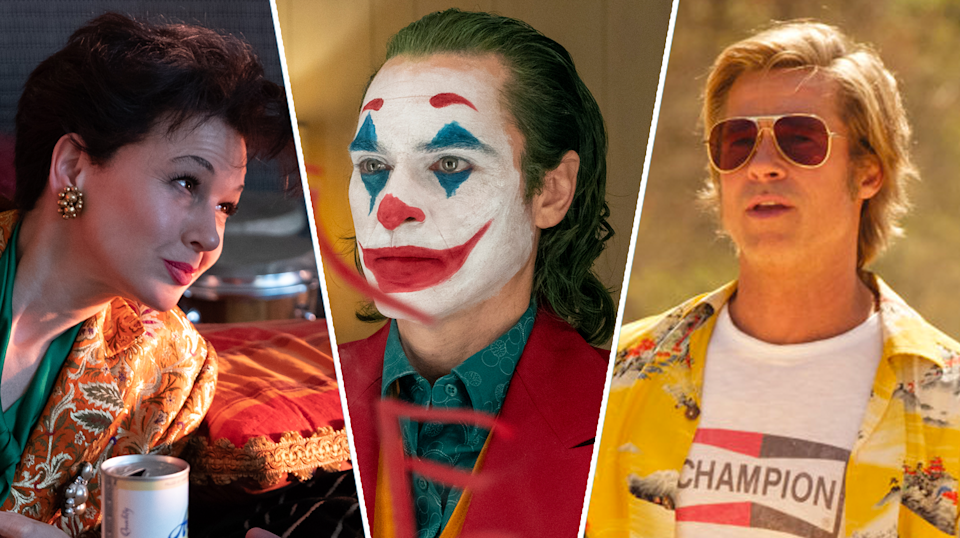 A composite image of stills from Judy, Joker, and Once Upon A Time... In Hollywood. (Pathe/WB/Sony Pictures)