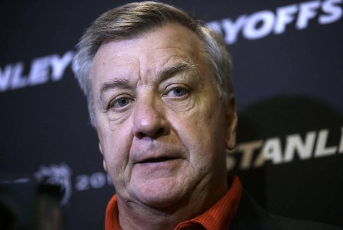 Carolina Hurricanes general manager Don Waddell faces reporters during a media availability Wednesday, May 8, 2019, in Boston, in advance of Thursday's Game1 of the NHL hockey Stanley Cup Eastern Conference finals against the Boston Bruins. (AP Photo/Steven Senne)