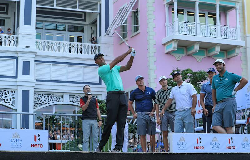Tiger Woods kicks off Hero World Challenge week with a victory in the 'Hero Shot'