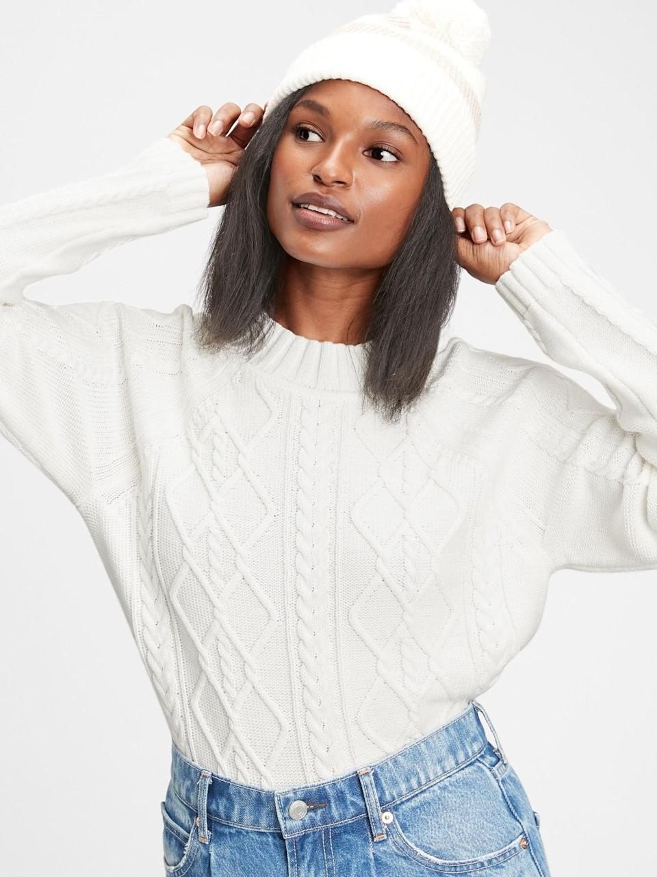 <p>Try an all-white look with this <span>Cable Knit Crewneck Sweater</span> ($47, originally $60). </p>