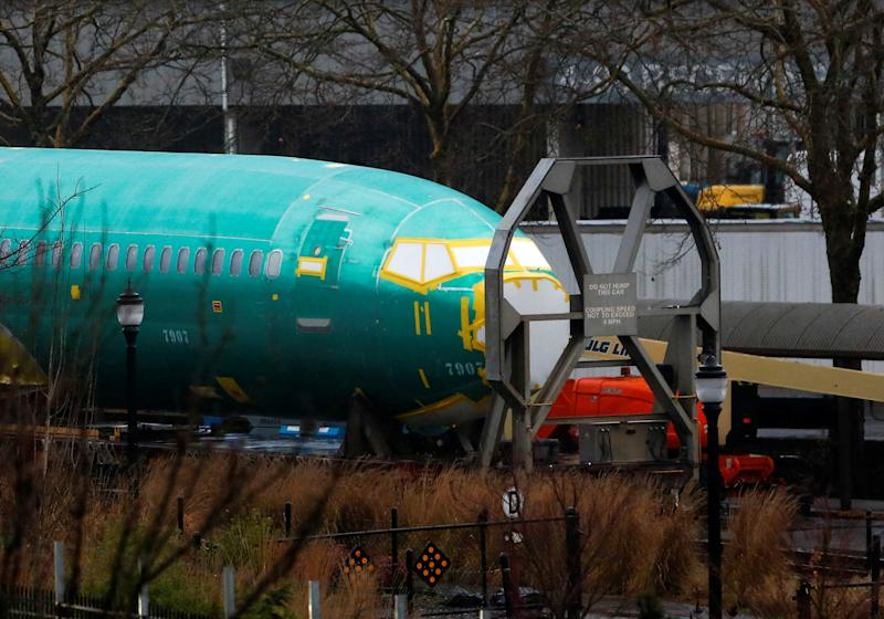 A Boeing 737 Max fuselage is seen parked on a track outside the company's production facility in Renton, Washington, U.S. January 10, 2020. REUTERS/Lindsey Wasson