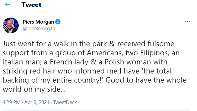 Screengrab from Piers Morgan's Twitter
