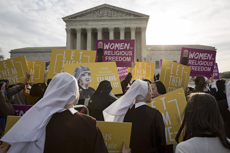 Nuns opposed to the Affordable Care Act's contraception mandate rallied outside of the Supreme Court in Washington, D.C., on March 23, 2016.