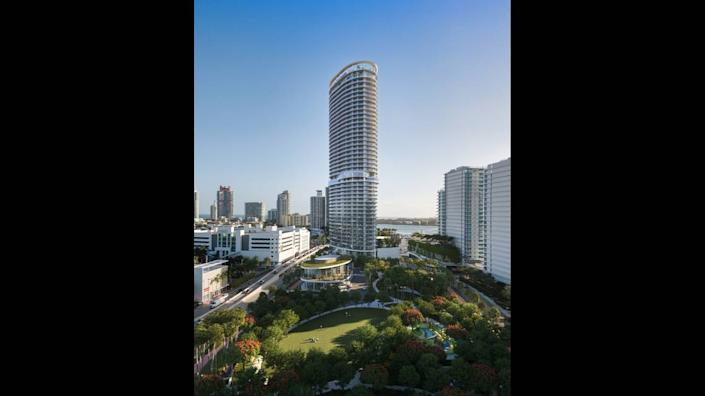 Architectural rendering of the Canopy Park at the Canopy Club, a public park that will be part of the luxury tower at 500-700 Alton Road, developed by Terra and Crescent Heights.
